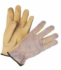 G & F 6042 Genuine Grain Leather Palm, Suede Leather Back Work Gloves, 1 Pair