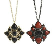 New House of Harlow 1960 Nicole Richie Black Onyx Red Jasper Statement Necklace