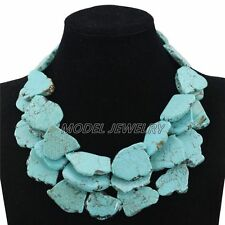 Blue Turquoise Beads Necklace Nigerian Women Wedding Party African Lace Jewelry