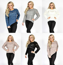 Womens Ladies Crew Neck Lightweight Knit Knitted Crochet Sweater Jumper Top 8-14