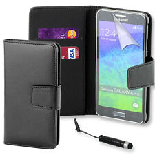 Premium Black PU Leather Book Wallet Case Cover Samsung Galaxy Alpha G850