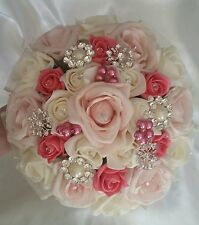 Wedding Bouquet Hand Wired Crystal Rose Blush Pink & Coral Ivory Beads Bouquet