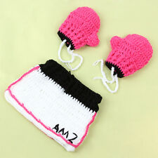 Baby Girls Dress + Boxing Gloves Knit Crochet Costume Newborn Photo Prop Outfit