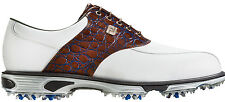 FootJoy DryJoys Tour Golf Shoes 53686 White/Brown Gator/Blue Mens Closeout New