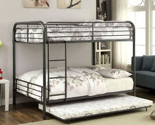NEW ASHER GUNMETAL FINISH FULL OVER FULL BUNK BED w/  OPTIONAL TRUNDLE BED