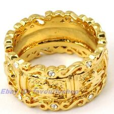 8#,9# LILY CARVED BAND RING 11mm8g 18K YELLOW GOLD PLATED SOLID FILL GP GEP f12