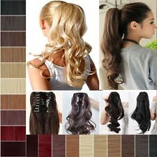 Real Thick Claw Jaw Ponytail Clip in Pony Tail Hair Extensions Straight Curly tg