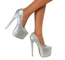 Womens Silver Platform Stiletto Very High Heel Pointed Court Pumps Shoes Prom