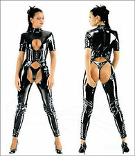 Black PVC Shiny Cut Out Thong Catsuit Catwoman Fetish Bondage Fancy Dress Outfit