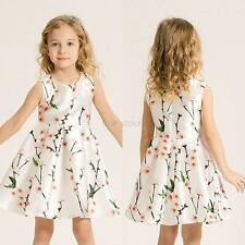 Summer Baby Kids Girls Floral Dress Sleeveless Holiday Party Dacing Dress 3-14T