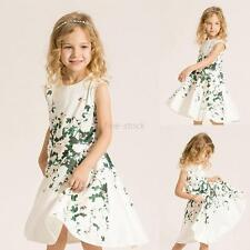 Summer Baby Kids Girls Green Floral Dress Sleeveless Birthday Party Dacing Dress