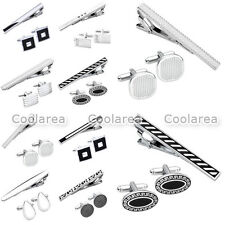Mens Fashion Stainless Steel Silver Black Tie Bar Clasp Clip & Cufflinks Set