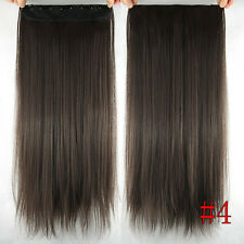 Hair Clip 5Clips One hairpiece Clip In Real Human Hair Extensions #4 Brown 100g