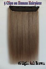 100g 16''~26'' 5Clips One Hairpiece Clip In Real Human Hair Extensions Ash Brown