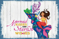"""Marmont Hill """"Mermaid Kisses 3"""" Graphic Art on Wrapped Canvas"""