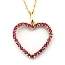 14k Yellow/White Gold Simulated Ruby Delicate Open Heart Pendant Necklace