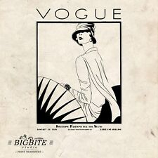 WATER DECAL: Art Deco Vintage VOGUE Magazine Cover Furniture Print Transfer #054