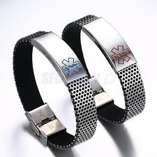 Mens 316L Stainless Steel Chain Medical Alert ID Bracelet Hand Chain Bangle