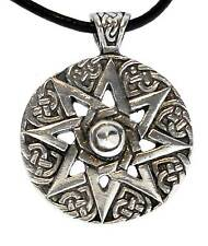 WHEEL OF LIFE Pewter Pendant Leather Necklace Surfer