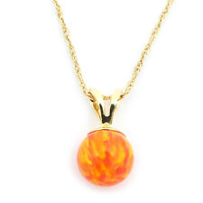 14k Yellow/White Gold 9mm Orange Fire Simulated Opal Pendant Necklace