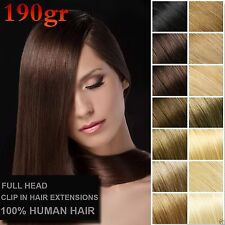 190g Deluxe Thick Virgin Remy 100%Real Human Hair Extension Hair Clip In 10pcs