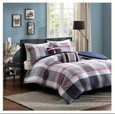 NEW Twin XL Full Queen Bed 5 pc Taupe Blue Red Plaid Comforter Pillows Set NWT