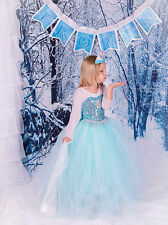 New Frozen Princess Dress Anna Elsa Queen Girls Cosplay Costume Party Dresses3-8