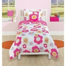 NEW Twin Full Bed Pink Blue Green Plaid Flowers Striped 4 pc Comforter Plush Set