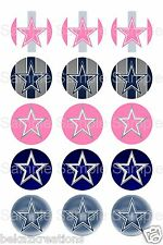15 - Precut 1 inch Bottle Cap Circle Images - Dallas Cowboys Inspired