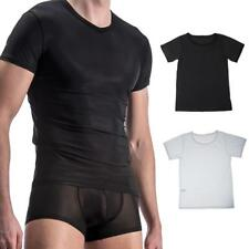 Men's Ice Silk Short Sleeve See-through Sexy Tops Smooth T-shirt Nightwear