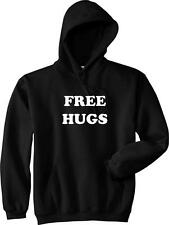 FREE HUGS Funny College Party Pick Up Line Peace Love Nice Hoodie NEW - Black