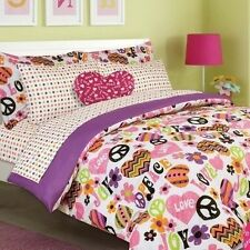 NEW Twin Full Bed Bag Peace Love Hearts Girls 8 pc Comforter Sheets Plush Set