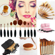 32/10 Set Professional Eyebrow Makeup Brushes Kit & Kabuki Toothbrush+ Pouch Bag