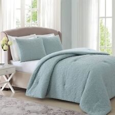NEW Twin Full Queen King Bed Pinsonic Quilted Blue 3 pc Comforter Shams Set NWT