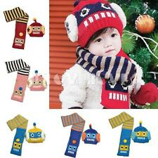 Newborn Baby Girls Boys Kid Striped Robot Design Hat+Scarf Neck Warmers Knit Cap