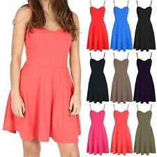 Womens Mini Skater Ladies Party Camisole Strappy Padded Flare Swing Dress Top