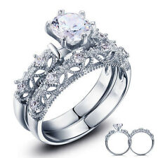 925 STERLING SILVER ROUND CUT CZ WEDDING ENGAGEMENT RINGS SET SIZE 5-9 SS753