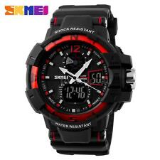 SKMEI Sport Waterproof Men LCD Digital Analog Quartz Date Alarm Wrist Watch B9J0