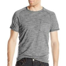 John Varvatos Star USA Men's Raglan Crew T-Shirt Fine Stripe Grey $88 msrp NWT