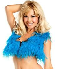 Turquoise Ostrich Feather Crop Top - Be Wicked BW1501T