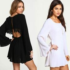 Sexy Women Long Sleeve Lace Cocktail Party Evening Clubwear Loose Backless Dress