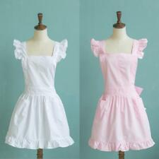 Girls Victorian Maid Apron Fancy Dress Pinafore Pinny Smock Costume Pink/White