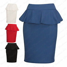 Ladies Women's CREPE TEXTURED Peplum Bodycon Knee Length Skirt Plus Size 8-22