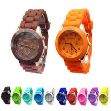 Colorful Womens Mens Geneva Silicone Jelly Gel Quartz Analog Sports Wrist Watch