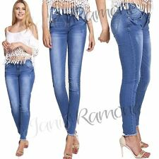 New Womens Blue Wash Faded Frayed Hem Skinny Denim Jeans Slim Fit Stretchy Pants