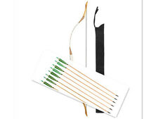 Hungarian  20-60 lbs Archery  Hunting White Pigskin Longbow +6 pcs Wooden Arrows