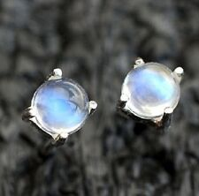 925 Sterling Silver Stud with Natural Rainbow Moonstone Round Cabochon Earring