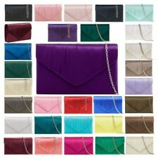 NEW LADIES PLEATED SATIN SMALL STYLISH CLUTCH PARTY PROM HANDBAG SILVER CHAIN