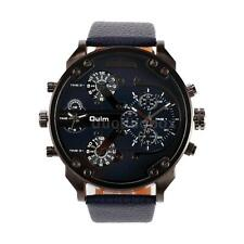 Oulm Fashion Dual Time Display Men Military Army Quartz Watch Leather Sport O9B7