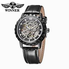 WINNER Mens Mechanical Automatic Skeleton Wrist Watch Luxury Leather Strap J7S0